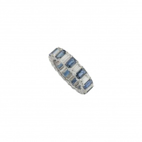 White Gold Diamond and Sapphire Full Eternity Ring
